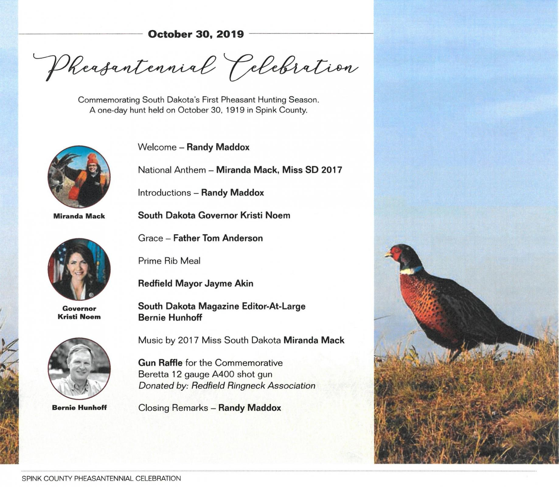 Pheasantennial Program Card